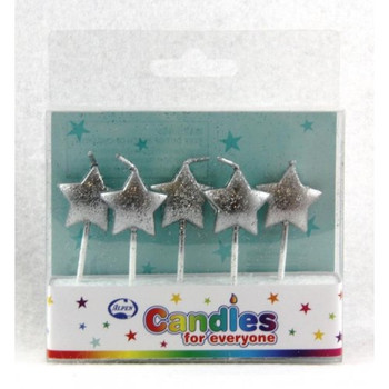 Candle Stars Silver Glitter 5Pk