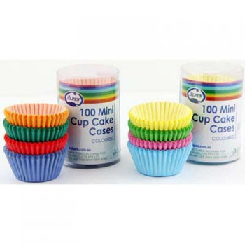 Cupcake Case Mini Coloured 100 Pk