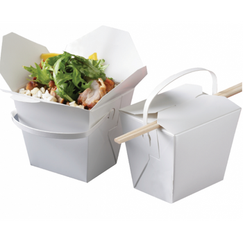 Cardboard Noodle Box With Handle 8oz Carton 500