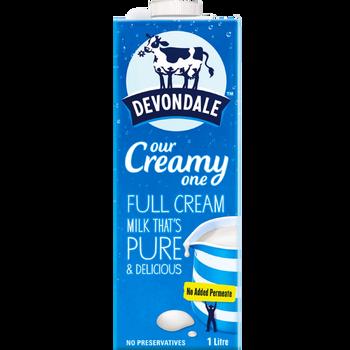Devondale Long Life Full Cream Milk Carton 10 x 1 Litre