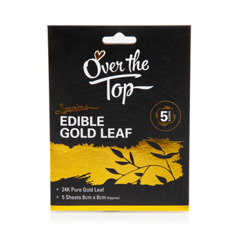 Over The Top Pure 24K Edible Gold Leaf 5 Sheets