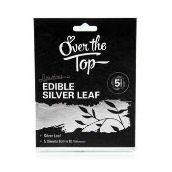 Over The Top Edible Silver Leaf 5 Sheets 8 x 8cm