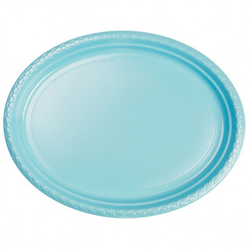 Plate Oval 315mmx245 Blue Pastel 20 Pkt