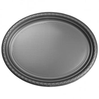 Plate Oval 315mmx245 Silver 20 Pkt