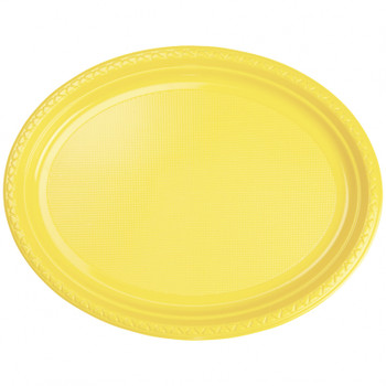 Plate Oval 315mmx245 Yellow 20 Pkt