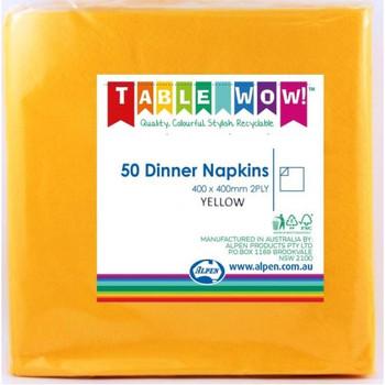 Serviettes Yellow Dinner 2Ply 100 - Alpen