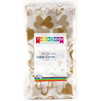 Tablecloth Gold Heart Rectangle Plastic