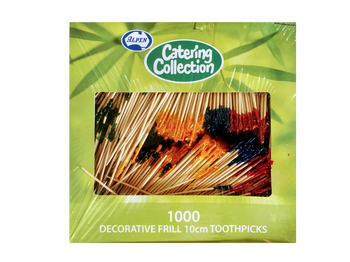 ALPEN FRILLED TOOTHPICKS LARGE 4inch  10cm 1000 PACK