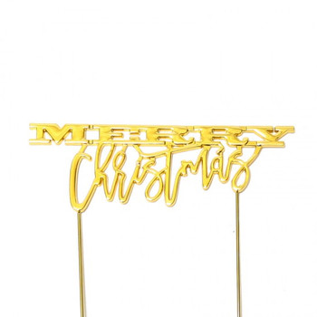 Gold Plated Cake Topper Merry Christmas