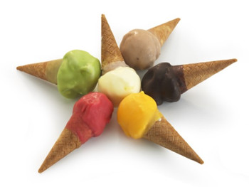 Mini Bambino Gelato Cones Assorted Chocolate, Vanilla, Mango, Raspberry, Mint, Hazelnut