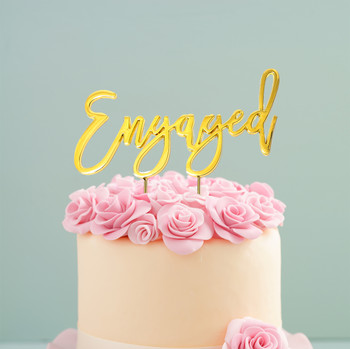Cake Topper Engaged Gold Plated on Cake