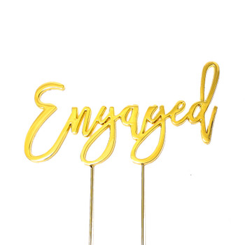 Cake Topper Engaged Gold Plated
