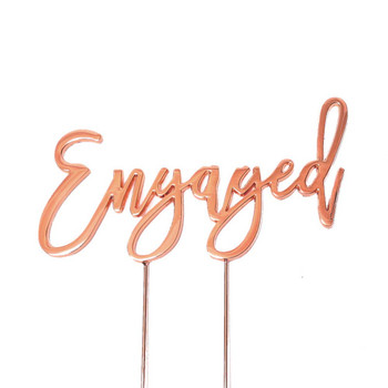 Cake Topper Engaged Rose Gold Plated