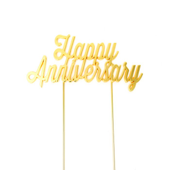 Cake Topper Happy Anniversary  Gold Plated Islolated