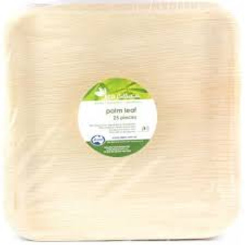 "Square Palm Leaf Plates 10"" 25Pk"