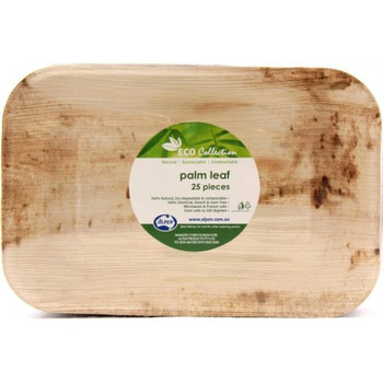 "Rectangle Palm Leaf Plate 10 x 7"" 25Pk"