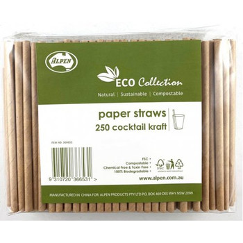 Cocktail Paper Straws Brown 250Pk