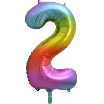 Foil Balloon Number 2 Rainbow 86cm