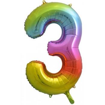 Foil Balloon Number 3 Rainbow 86cm
