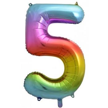 Foil Balloon Number 5 Rainbow 86cm