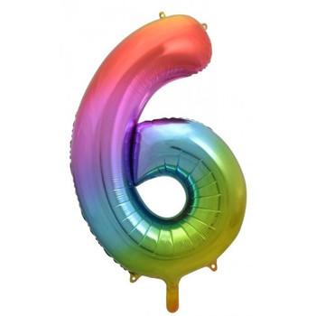 Foil Balloon Number 6 Rainbow 86cm