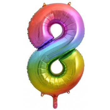 Foil Balloon Number 8 Rainbow 86cm