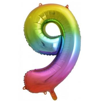 Foil Balloon Number 9 Rainbow 86cm