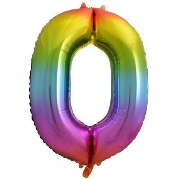 Foil Balloon Number 0 Rainbow 86cm