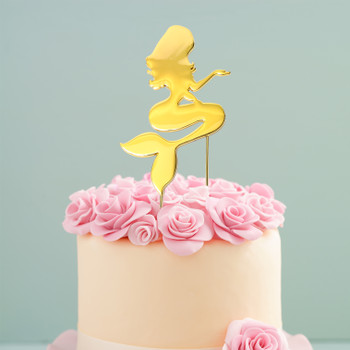 Mermaid Cake Topper Gold Plated On A Cake