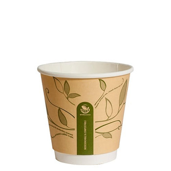 8oz Double Wall Hot Paper Cups Leaves
