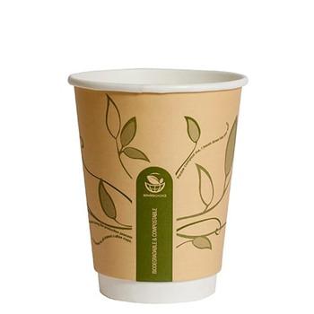 envirochoice 12oz Double Wall Hot Paper Cups Leaves