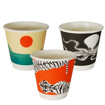 8oz Double Wall Hot Paper Cups Gallery Series x 25 pack