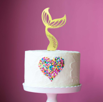 Cake Topper Mermaid Tail Gold Plated  Displayed On A  Cake