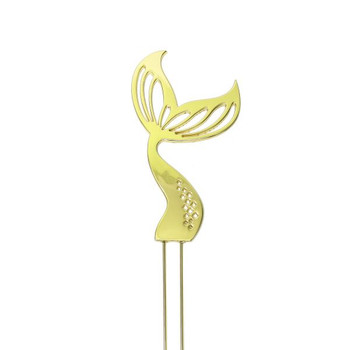 Cake Topper Mermaid Tail Gold Plated