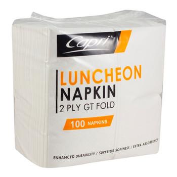 Capri 2ply White Luncheon Serviettes Pre-Fold 100 Pack