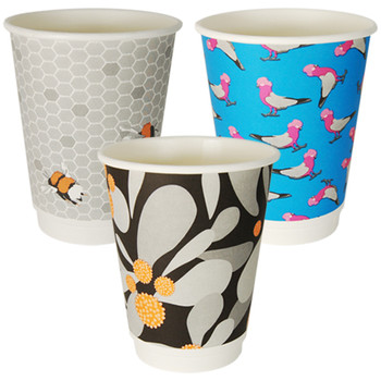 12oz Double Wall Hot Paper Cups Gallery Series 25 pack