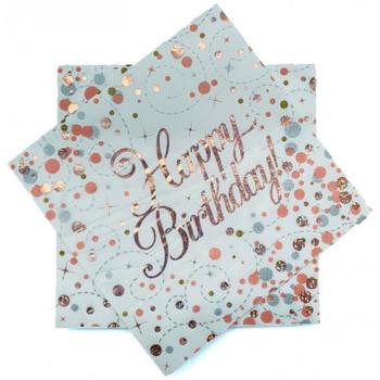 Rose Gold Sparkling Fizz Happy Birthday Serviette 16pk