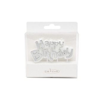 Silver Happy Birthday Candle Plaque