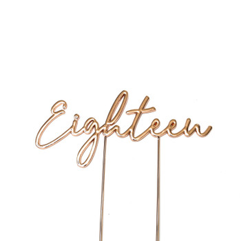 Cake Topper Eighteen Rose Gold Plated