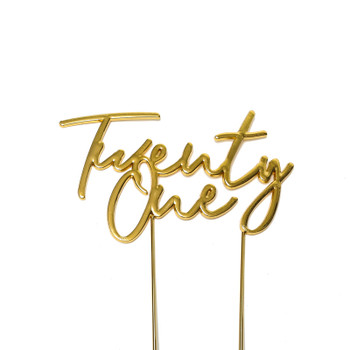 Cake Topper Twenty One Gold Plated