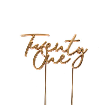 Cake Topper Twenty One Rose Gold Plated