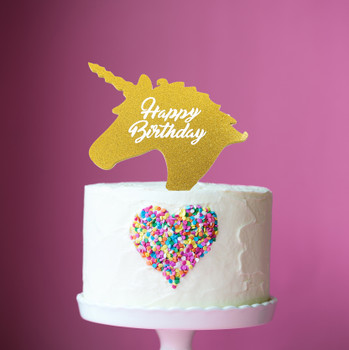 Unicorn Happy Birthday Cake Topper Gold