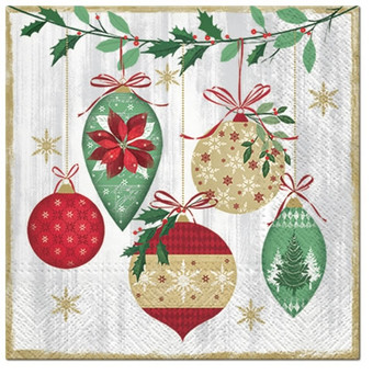 Vintage Baubles 3 Ply Christmas Lunch Napkins