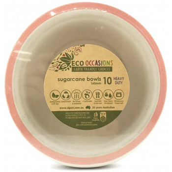 Eco Occasions Sugarcane Bowls 160mm Gold 10 pack