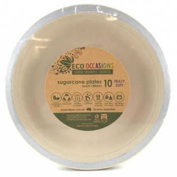 Eco Occasions Sugarcane Lunch Plates 180mm Silver 10 pack