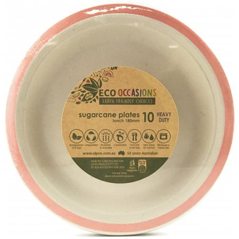 Eco Occasions Sugarcane Lunch Plates 180mm Rose Gold 10 pack