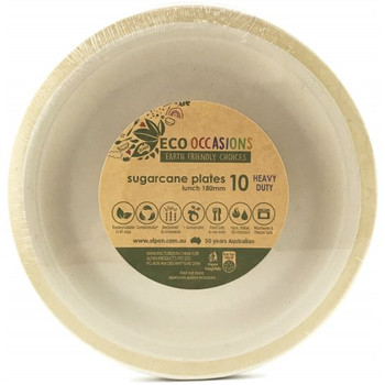 Eco Occasions Sugarcane Lunch Plates 180mm Gold 10 pack
