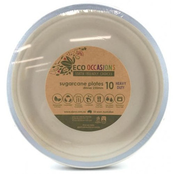 Eco Occasions Sugarcane Dinner Plates 230mm Silver 10 pack