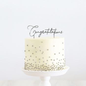 Silver Cake Topper Congratulations