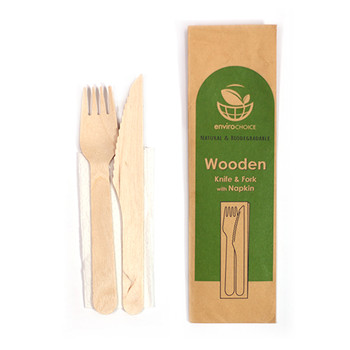 Wooden Cutlery Set Individually Wrapped 100 Pack